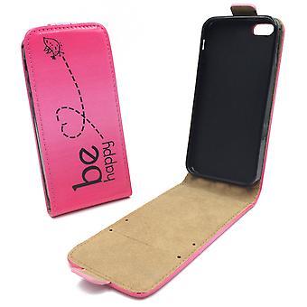Caso malote do telefone móvel para telefone Apple iPhone SE 5 5 s ser feliz rosa