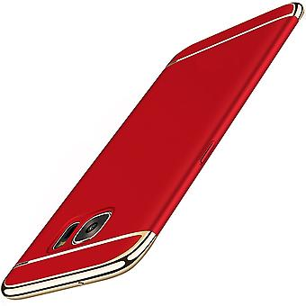 Cell phone cover case voor Samsung Galaxy J5 2016 bumper 3 in 1 cover chroom rood