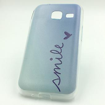 Caso de telefone celular para Samsung Galaxy J1 mini sorrir Blau bolsa capa case do motivo magro