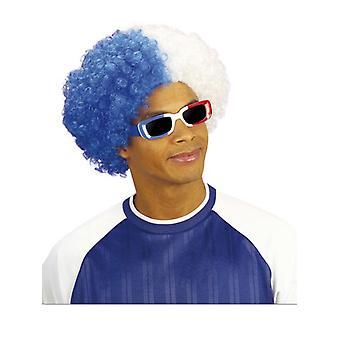 Deux tons perruque frisée - bleu/blanc