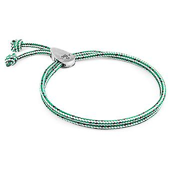 Anchor & Crew Green Dash Pembroke Silver and Rope Bracelet