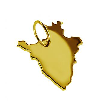 Trailer map pendants in gold yellow-gold in the form of BURUNDI