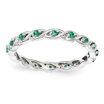 2.5mm 925 Sterling Silver Polished Prong set Rhodium plaqué Stackable Expressions Créé Emerald Ring Bijoux Cadeaux fo