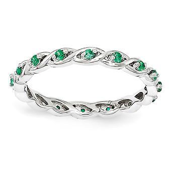2,5mm 925 Sterling Sølv Polert Prong sett Stackable Uttrykk Opprettet Smaragd Ring Smykker Gaver til Kvinner - Ring S