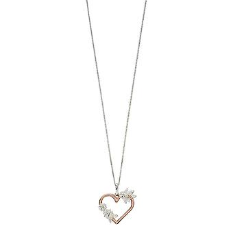 Elements Silver Floral Cut Out Heart Pendant - Silver/Rose Gold