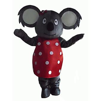 SPOTSOUND of gray koala mascot, with a red dress with white polka dots