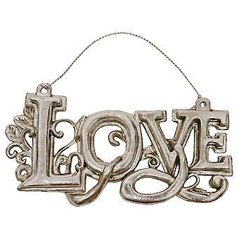 Sierlijke liefde verouderde zilveren kerst Vakantiewoningen Ornament