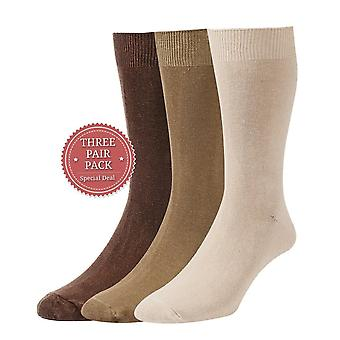 HJ Hall Plan Cotton Rich Sock 3 Pack - Brown/Taupe/Beige