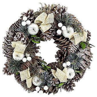 Festive Productions 30cm Snowy Berry, Apple and Pine Cone Christmas Wreath