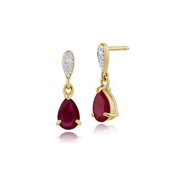 Klassische Birne Rubin & Diamant Tropfen Ohrringe in 9ct Gelbgold 135E1060049