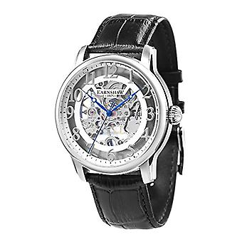 Thomas Earnhshaw Longitude ES-8062-04 mechanical wrist watch silver skeleton dial and black leather band