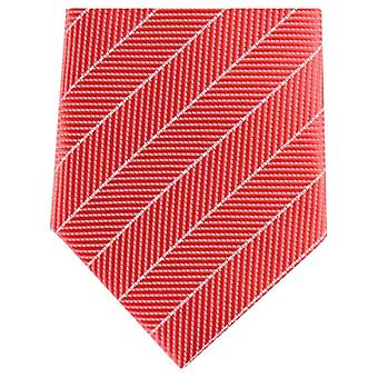 Knightsbridge Neckwear Diagonal Striped Skinny Polyester Tie - Red/White