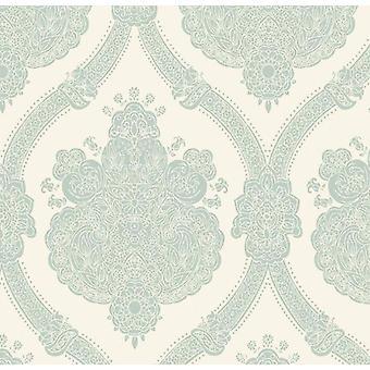 Damast Wallpaper getextureerde moderne Moselle Teal crème Holden Decor