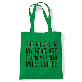 Rösterna i mitt huvud behöver mer kaffe Tote | Återanvändbar Shopping bomullscanvas länge hanteras naturliga Shopper miljövänliga mode | Gym bok väska närvarande födelsedagspresent | Flera färger