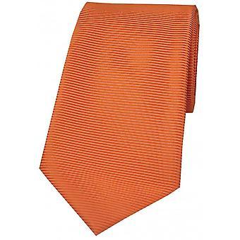 David Van Hagen horizontale côtelée cravate Polyester - Orange