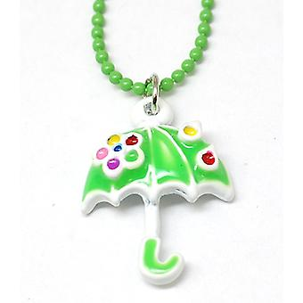 "The Olivia Collection Kids Enamel Pendant & 16"" Ball Chain Green Umbrella"