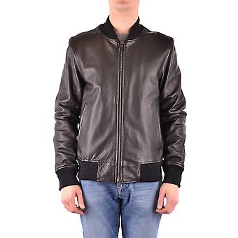 Orciani Ezbc136021 Men's Black Leather Outerwear Jacket