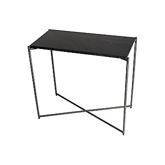 Gillmore Black Marble Small Console Table With Gun Metal Cross Base