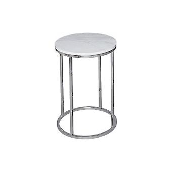 Gillmore White Marble And Silver Metal Contemporary Circular Side Table