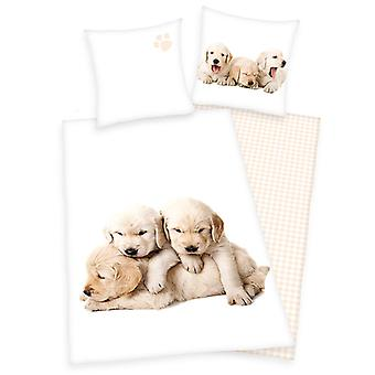 Puppies Single Cotton Dekbed Cover en Pillowcase Set - Europese maat