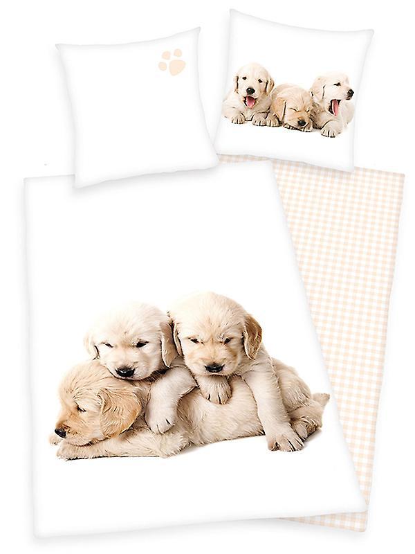 Puppies Single Cotton Duvet Cover and Pillowcase Set