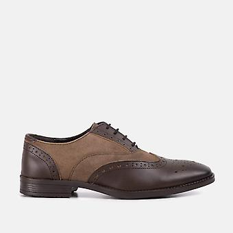 Mens brown leather stone suede gatsby shoe