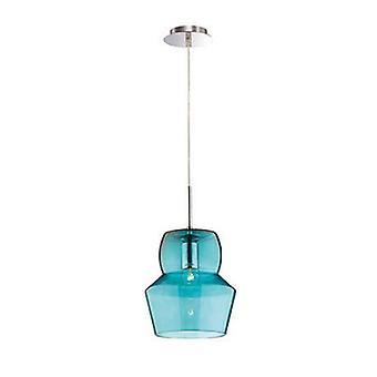 1 luz grande pingente de teto azul