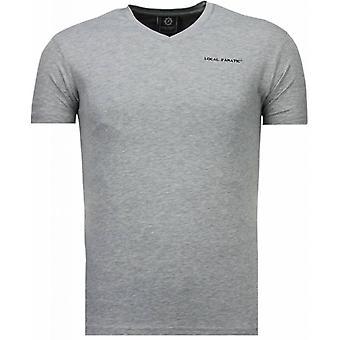 Basic exklusiv V-ringad-T-shirt-grå