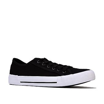 Mens Nicce Kansas Low Trainers In Black-White- Lace Fastening- Cushioned Insole-