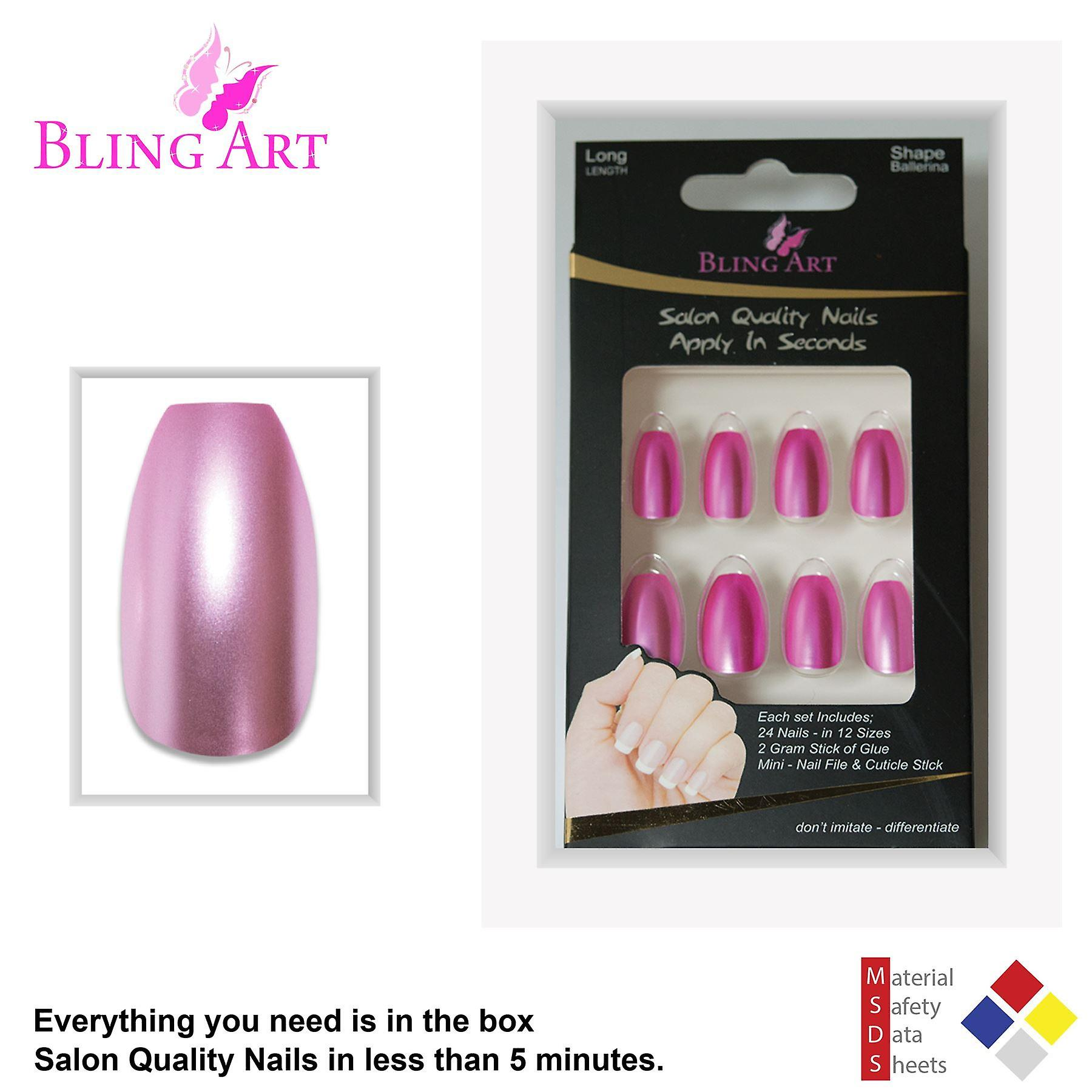 False nails by bling art pink matte metallic ballerina coffin fake acrylic tips