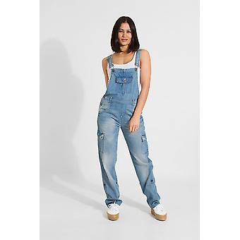 Daisy Womens denim salopette reparatie detail