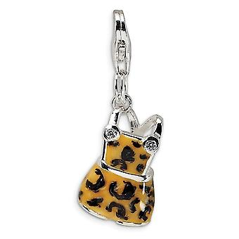925 Sterling Silver Polished Rhodium plated Fancy Lobster Closure CZ Black Yellow Enameled Overall With Lobster Clasp Ch
