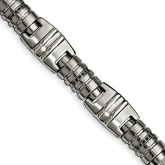 Stainless Steel Brushed and Polished Black CZ Cubic Zirconia Simulated Diamond Link Bracelet 8.25 Inch Jewelry Gifts for