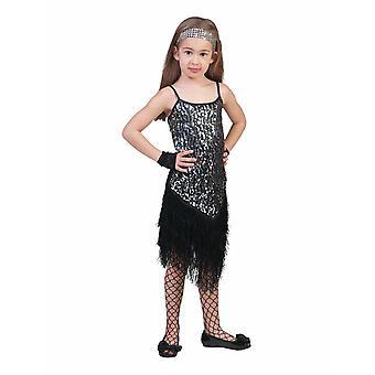 Fringie flapper musta hopea tyttö Charleston mekko lasten puku tyttö 20s puku