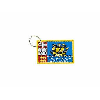 Porte Cle Cles Clef Brode Patch Ecusson Badge Drapeau Saint Pierre Et Miquelon