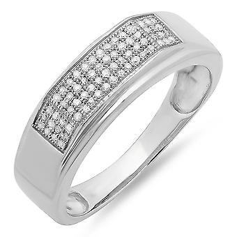 Dazzlingrock Collection 0.20 Carat (ctw) Sterling Silver Round Diamond Men's Micro Pave Hip Hop Wedding Band 1/5 CT