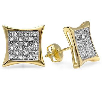 0.27 Carat (ctw) 18K Yellow Gold Plated Sterling Silver Round Diamond Men-apos;s Stud Earrings 1/4 CT