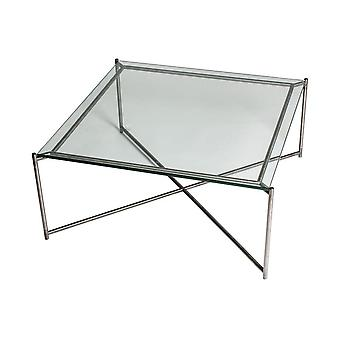 Gillmore Clear Glass Square Coffee Table With Gun Metal Cross Base