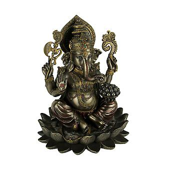 Bronze Finish Ganesha Seated On Lotus Holding Sacred Objects Statue