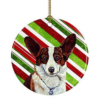 كارولين الكنوز LH9243-CO1 فصيل كورجي حلوى قصب عطلة عيد الميلاد أورنام السيراميك