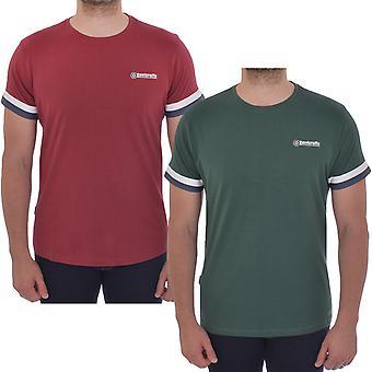 Lambretta Mens Tipped Arm Casual Short Sleeve Cotton T-Shirt Tee Top