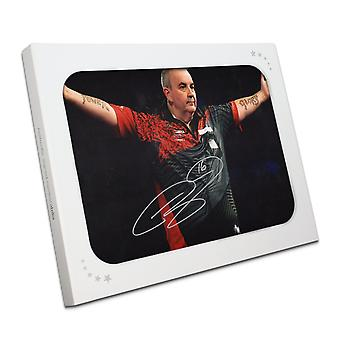 Phil Taylor Signed Darts Photo: The Power In Gift Box