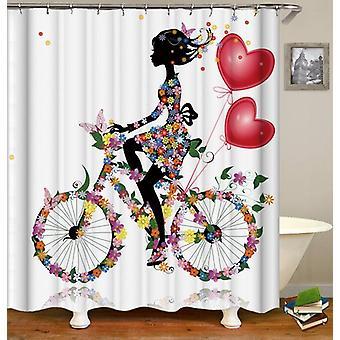 Blumenmädchen Reiten ein Fahrrad Dusche Vorhang