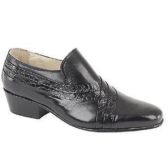 Montecatini Pablo Mens Cuban Heel Reptile Leather Shoes Black