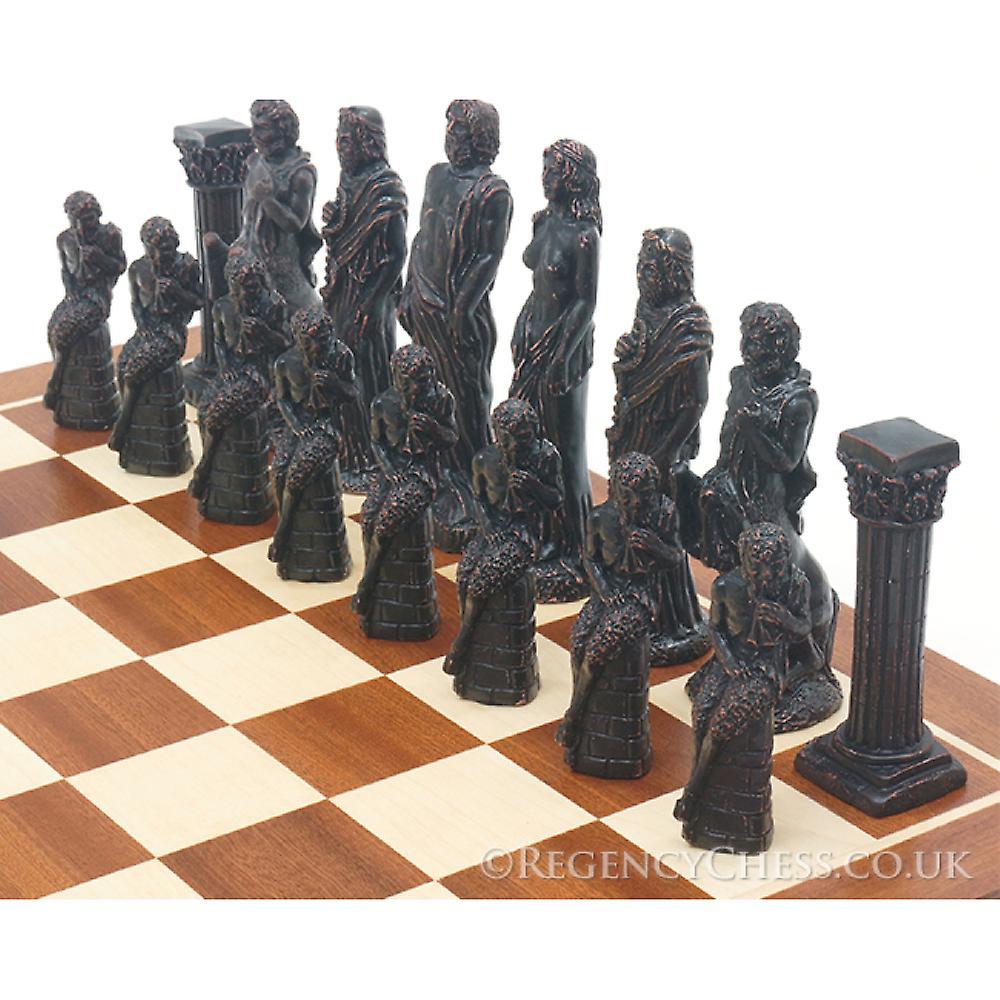 Gods of Mythology Mahogany chess set