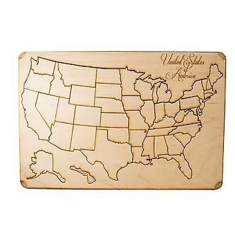 50 piece american puzzle map - art kit - raw wood 12x18