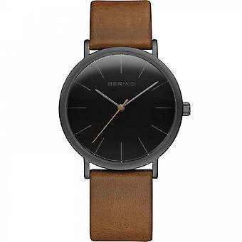 Uhr Bering 13436-522 - Helles schwarzes Stahlzifferblatt schwarz braun Lederarmband