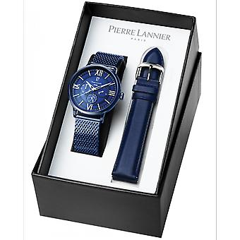 Pierre Lannier 372B466-FFBB horloge Bo tier staal blauwe wijzerplaat blauw Milanese blauw leer blauw leer mannen