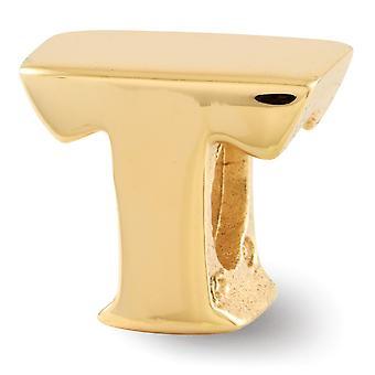 Prata esterlina Polida 14k Ouro Plated Reflexãos Nome Personalizado Monograma Inicial T Bead Charm Pingente