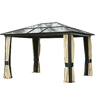 Outsunny 3 x 3.6m Patio Aluminium Gazebo Canopy Marquee Party Tent Hardtop Roof Garden Shelter w/ Mesh & Side Walls